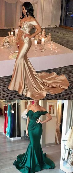 Fashion Mermaid Off the Shoulder Ruffles Long Prom Dresses Formal Evening Fancy Dress LD1878