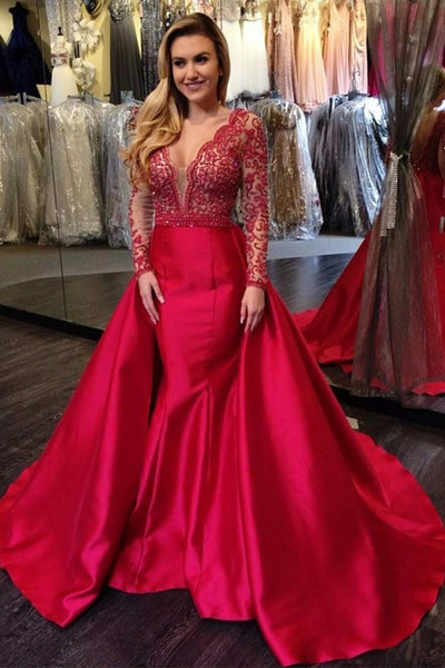 New Arrival Long Sleeves V Neck Lace Red Prom Dresses Formal Evening Dress Fancy Gowns LD1883