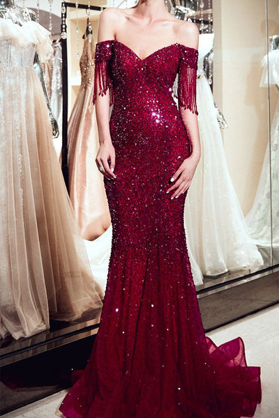 Sparkly Sequin Mermaid Burgundy Off the Shoulder Long Prom Dresses Formal Evening Dress LD1885