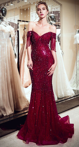 Sparkly Sequin Mermaid Burgundy Long Prom Dresses Formal Evening