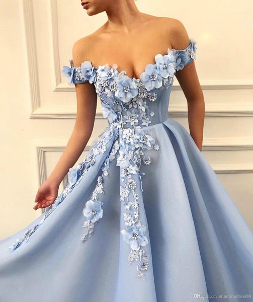 Charming 3D Floral Light Blue Off the Shoulder Long Prom Dresses Formal Evening Dress Gowns LD1888