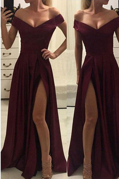 Burgundy Off the Shoulder Slit A Line Long Simple Prom Dresses Formal Evening Fancy Dress LD1894