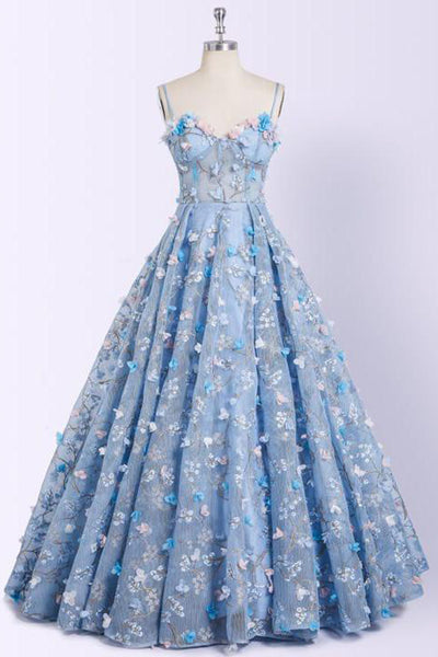 Charming 3D Floral Light Blue Ball Gown See Through Prom Dresses Formal Evening Grad Dress LD1900
