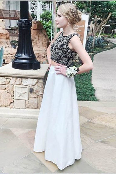 Two Piece Black White High Neck Beaded Long Prom Dresses Formal Evening Dress Gown LD1901