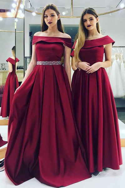 Off the Shoulder A Line Burgundy Beaded Long Prom Dresses Formal Evening Dress Gowns LD1903