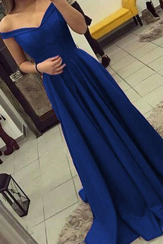 Royal Blue Off the Shoulder A Line Long Elegant Prom Dresses Formal Evening Dress Gowns LD1909