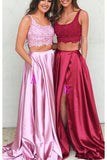 Two Piece A Line U Neck Pink Slit Lace Long Prom Dresses Formal Evening Dress LD1910