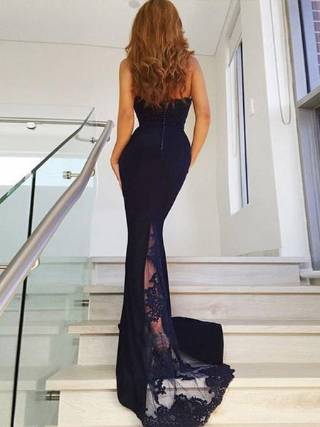 Chic Navy Blue Lace Halter Mermaid Long Prom Dresses Formal Evening Bridesmaid Dress LD1911