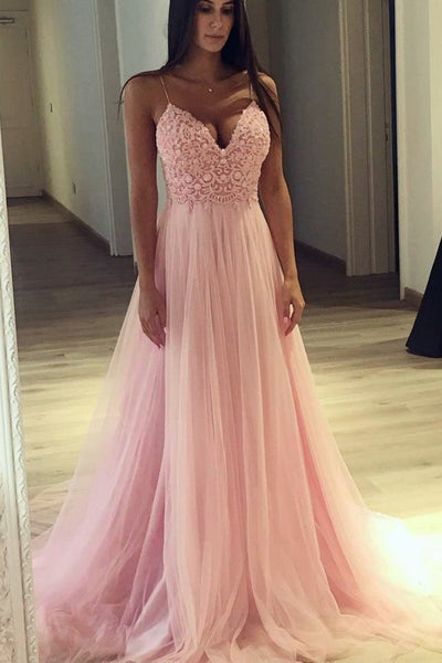 Charming Spaghetti Straps Lace Pink V Neck Princess Formal Prom Dresses Evening Party Dress LD1916