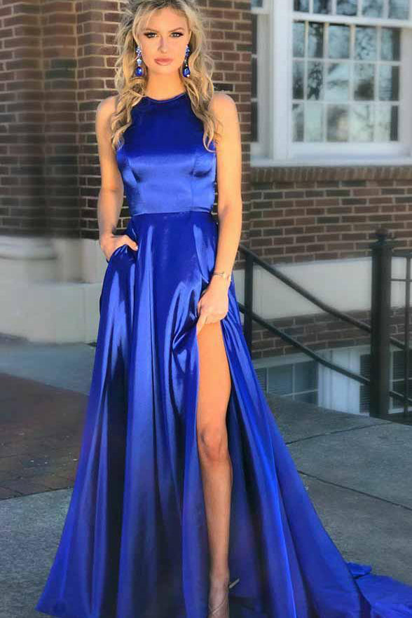 Royal Blue High Neck Open Back A Line Long Elegant Prom Dress Formal Evening Grad Dresses LD1919