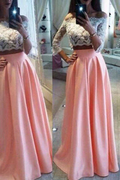 3/4 Long Sleeves 2 Piece White Lace Pink Skirt  Evening Prom Dresses LD191