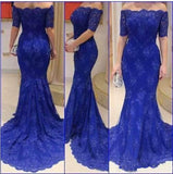 Fashion Short Sleeves Mermaid Royal Blue Lace Beaded Long Prom Dresses Formal Evening Dress LD1921