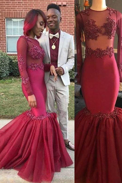 Burgundy Mermaid Long Sleeves See Through High Neck Prom Dresses Formal Evening Dress LD1922