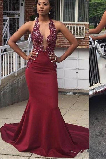 Sexy Backless Deep V Neck Burgundy Lace Mermaid Bead Prom Dresses Formal Evening Fancy Dress LD1923