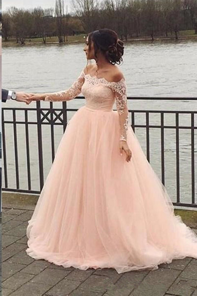 Fashion Long Sleeves Lace Off the Shoulder Light Pink Wedding Dresses Formal Prom Gown Dress LD1924