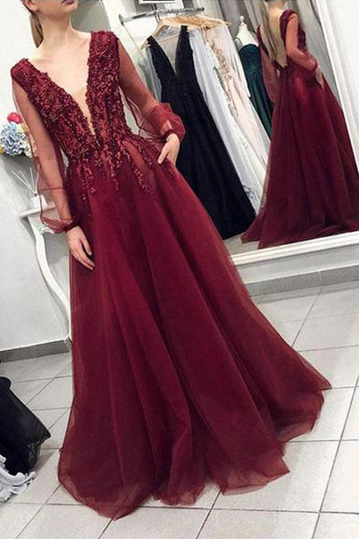 Long Sleeves Deep V Neck Open Back Burgundy Beaded Prom Dress Formal Evening Fancy Dresses LD1930