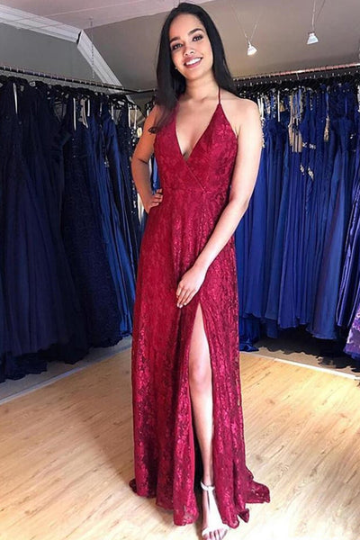 Open Back Halter Lace Burgundy V Neck Slit Long Prom Dresses Formal Evening Fancy Dress LD1932