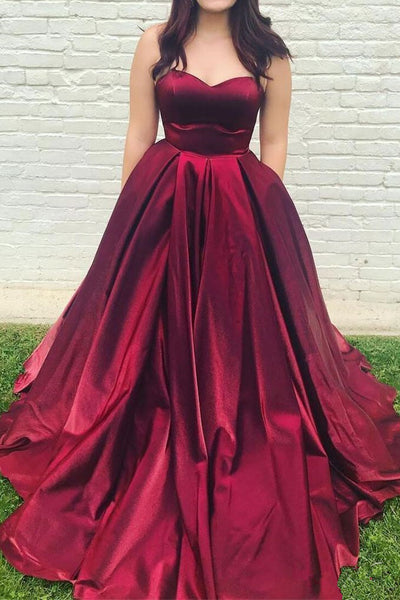 Simple A Line Burgundy Satin Long Prom Dresses With Pocket Formal Evening Gown Dress LD1933