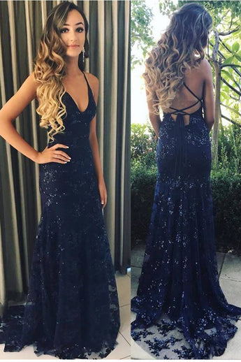 Sexy Open Back Navy Blue Sequin Straps Mermaid Prom Dresses Formal Long Evening Dress LD1936