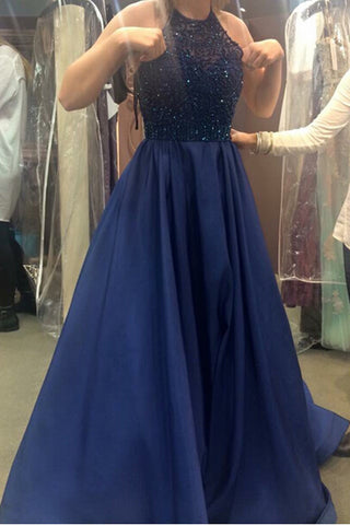 Rhinestones Navy Blue Halter Prom Dresses Ball Gown Evening Dress 2017 LD193