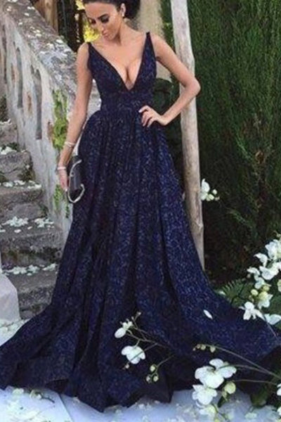 Fashion V Neck Navy Blue Lace A Line Long Formal Prom Dresses Evening Fancy Dress LD1942