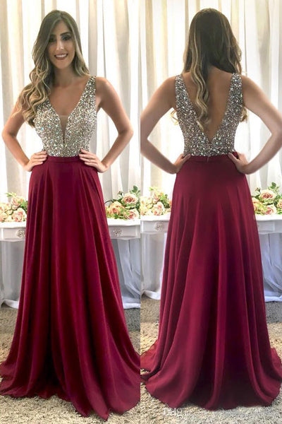 Fashion V Neck Open Back Burgundy Beaded Long Prom Dresses Formal Evening Dress LD1944