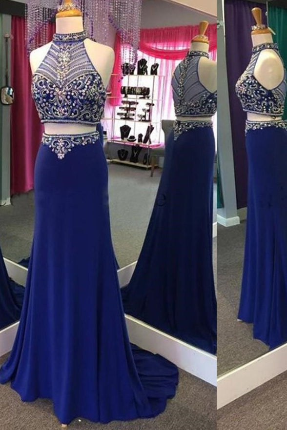 Two Piece Royal Blue See Through Beaded Mermaid Prom Dresses Formal Evening Fancy Dress LD1949
