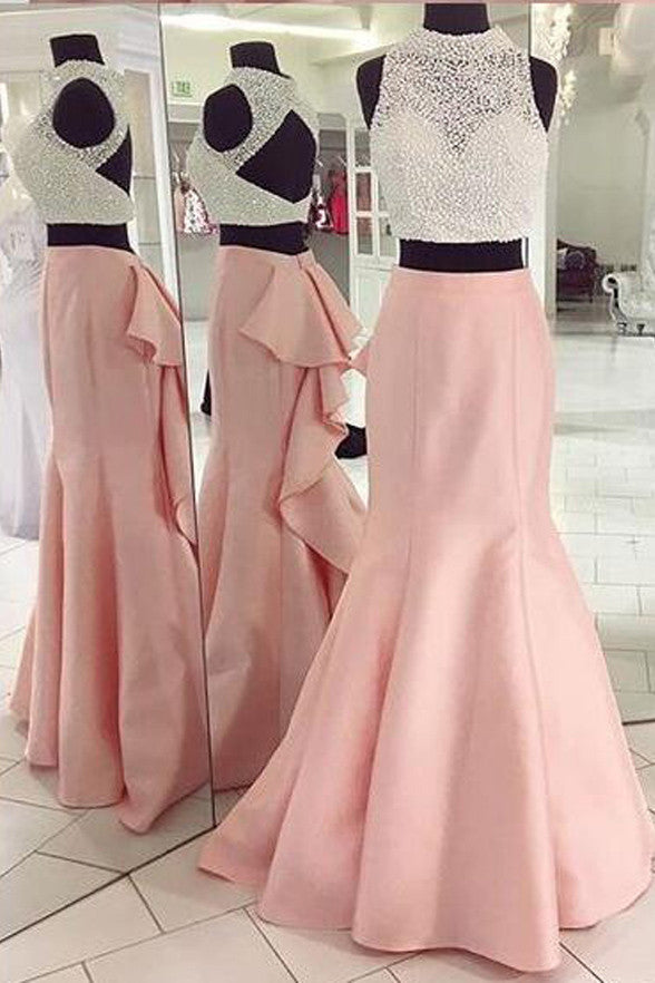 White/Pink 2 Piece High Neck Backless Mermaid Prom Dress Evening Gowns LD194