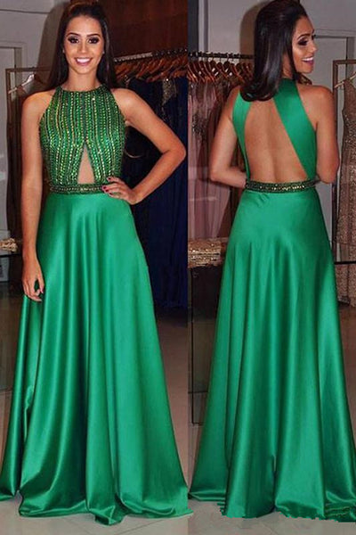 Chic Open Back Green Beaded High Neck Long Formal Prom Dresses Evening Fancy Dress LD1950