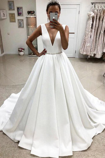 Elegant A Line V Neck Ivory Satin Cheap High Quality Wedding Dresses Bridal Gowns Dress LD1953