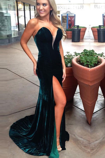 Sexy V Neck Dark Green Velvet Slit Mermaid Long Prom Dress Formal Evening Fancy Dresses LD1954
