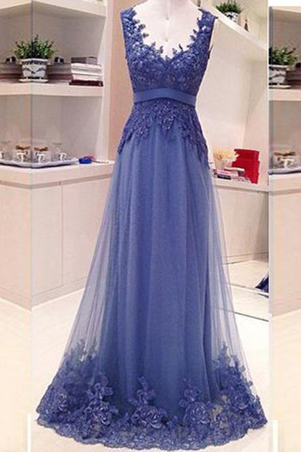 Empire Waist Backless Lace Appliques Blue Long Formal Prom Dresses Evening Party Dress LD1955