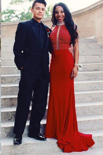 Red Mermaid Prom Dresses Formal Halter Open Back Long Evening Fancy Dress LD1956