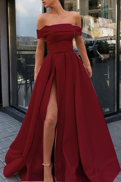 Elegant Off the Shoulder Burgundy Satin Long Formal Prom Dresses Evening Fancy Dress LD1957