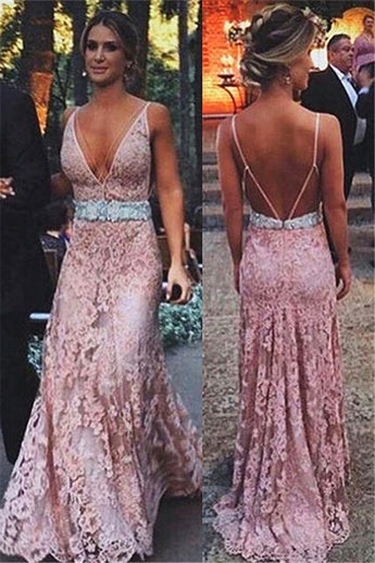Pink Lace Open Back Deep V Neck Mermaid Long Formal Prom Dresses Evening Fancy Dress LD1959