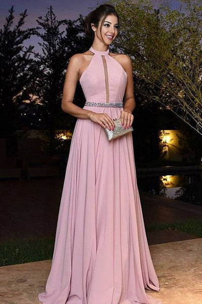 Charming High Neck Halter Pink Chiffon Beaded Long Prom Dresses Formal Evening Dress LD1961