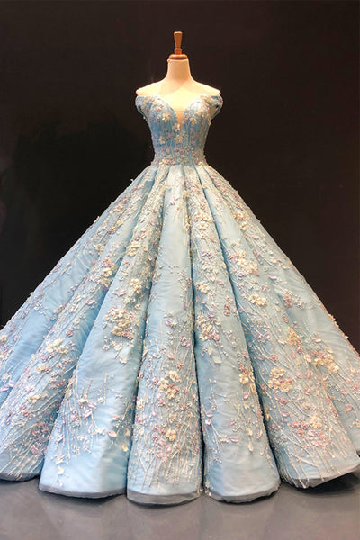 Luxurious 3D Floral Lace Light Blue Ball Gown Prom Dress Formal Evening Grad Dresses LD1968