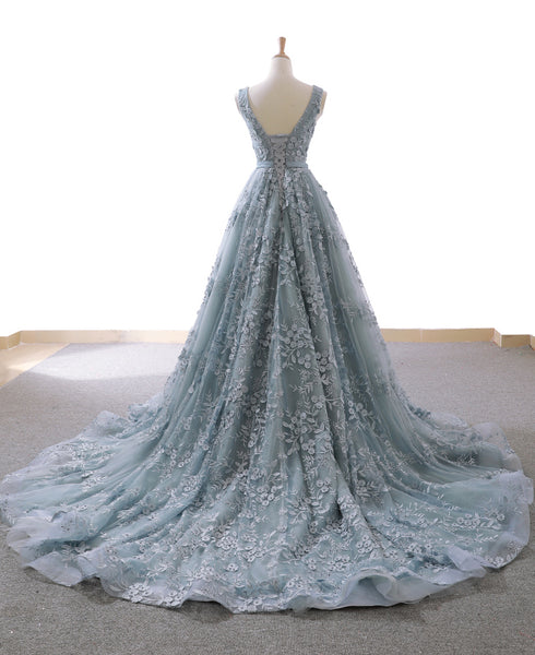 Fashion V Neck Lace Grey Blue High Quality Long Prom Dress Formal Evening Grad Dresses LD1969