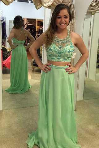 Two Pieces Sage Chiffon Backless Beaded Halter Prom Dresses Party Dress LD196