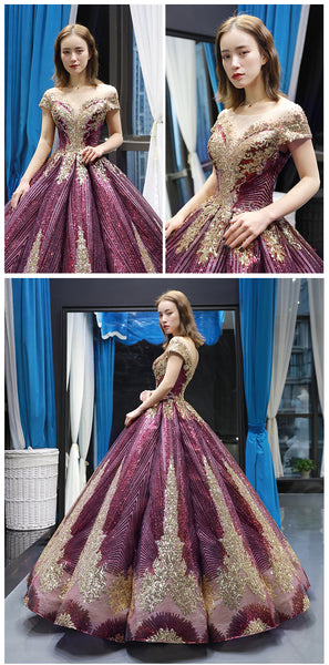 Luxurious Cap Sleeves Sequin Ball Gown Long Prom Dress Formal Quinceanera Dresses LD1970