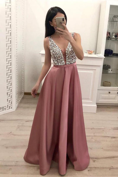 Dusty Rose Satin A Line Deep V Neck Beaded Long Formal Prom Dress Evening Dresses LD1971