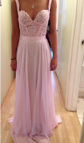 Hot Sales Pink Lace Chiffon Spaghetti Straps Prom Dresses Party Gowns LD197