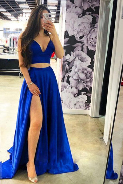 Two Piece Royal Blue V Neck Split Long Elegant Prom Dress Formal Evening Grad Dresses LD1980