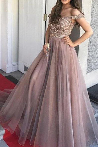 Stunning A Line Off the Shoulder Beaded Tulle Long Formal Prom Dresses Evening Grad Dress LD1981