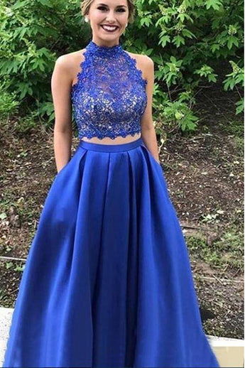 2 Pieces Royal Blue High Neck Lace Prom Dress With Pocket Formal Evening Gown Dresses LD1983