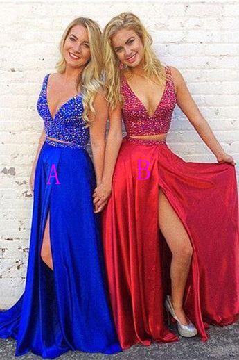 Two Piece A Line V Neck Beaded Slit Royal Blue Long Prom Dresses Formal Evening Dress LD1984