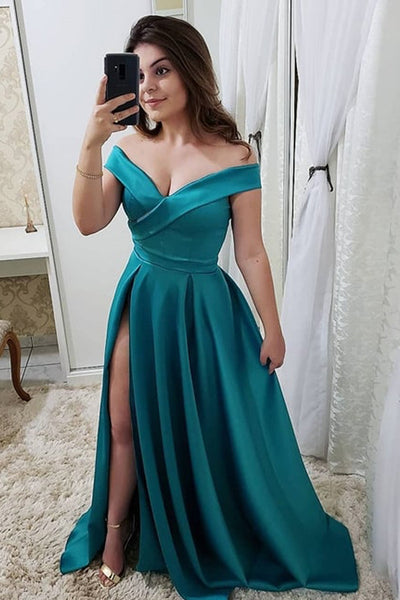 Fashion Off the Shoulder A Line Green Split Long Elegant Prom Dresses Formal Evening Dress LD1985