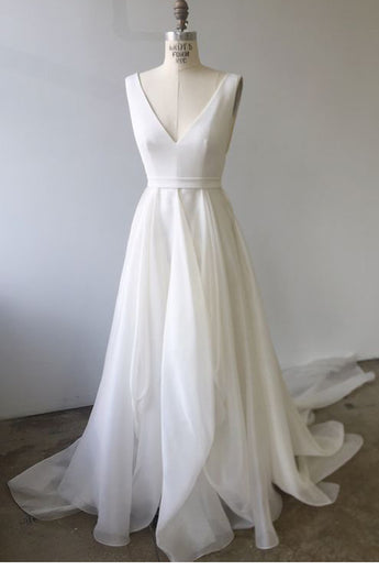 Elegant A Line V Neck Ivory Open Back High Low Wedding Dresses Formal Prom Dress LD1989