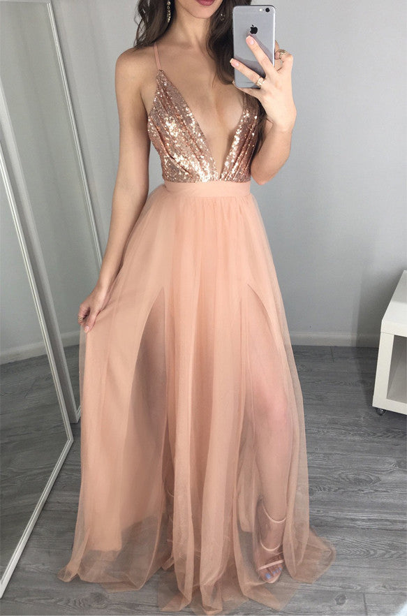 Sexy Rose Sequin Blush Pink V Neck Backless Prom Dresses Evening Dress LD198