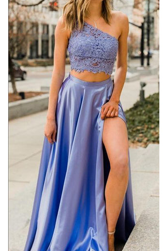 One Shoulder Two Piece Lace Split Lavender Long Prom Dresses Formal Evening Dress LD1992